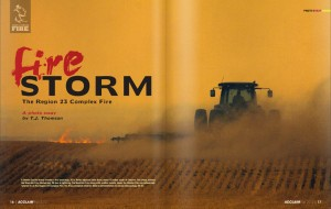 """The first two-page spread of Thomson's photo essay, """"Firestorm,"""" as it appears in the inaugural edition of ACCLAIM magazine. The essay documents the wildfire that threatened Chadron State College and consumed more than 86,000 acres in rural Nebraska during the fall of 2012."""