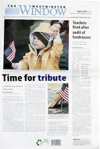 Two photos from the 2012 Armed Forces Tribute ceremony accompany a front-page article in the May 24, 2012 edition of the Westminster Window.