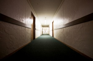 A seemingly endless hallway creates leading lines in the third floor of Albert E. Kent dormitory at Chadron State College.