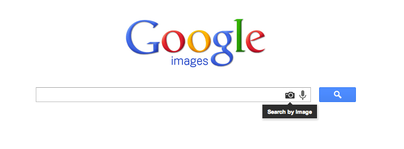 "Clicking the camera icon reveals Google's ""Search by image"" dialogue screen."