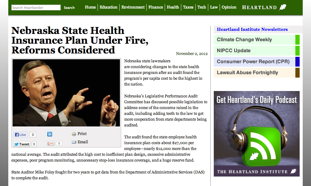 A month after it was legitimately published on csceagle.com, The Heartland Institute used it, without permission or attribution, in an article about Nebraska healthcare reform.