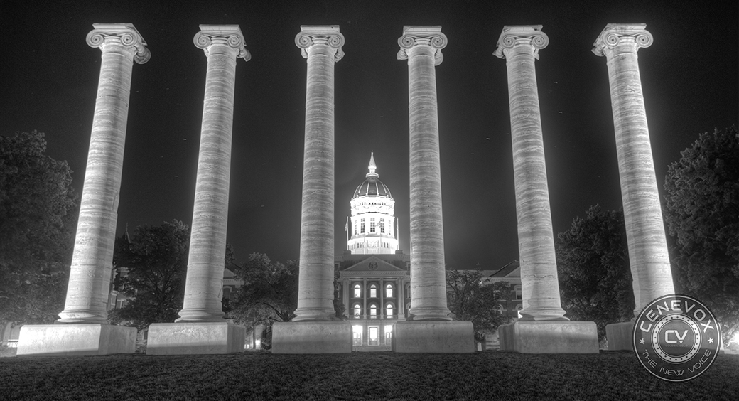 Six remnant pillars, all that's left after an 1892 fire burned Academic Hall, frame the University of Missouri-Columbia's administrative offices at Jesse Hall. The structures sit in the Francis Quadrangle's southern end.