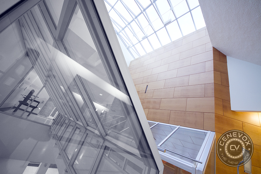 Light pours through a glass atrium in the University of Missouri-Columbia's Donald W. Reynolds Journalism Institute.