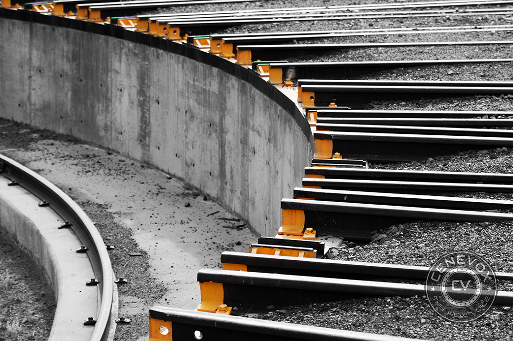 Dozens of rail tracks form a circle in a railway turntable in Golden, Colo.