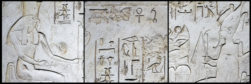 A limestone tomb relief from Abydos, Egypt, depicts Egyptian divinities in the 19th dynasty. Horus appears on the left panel while Osiris faces him on the right.