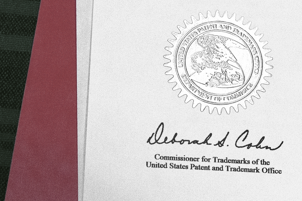 The commissioner's signature for the United States Patent and Trademark Officer accompanies patent and trademark certificates. Current commissioner Deborah S. Cohn has worked in this capacity since 2006.
