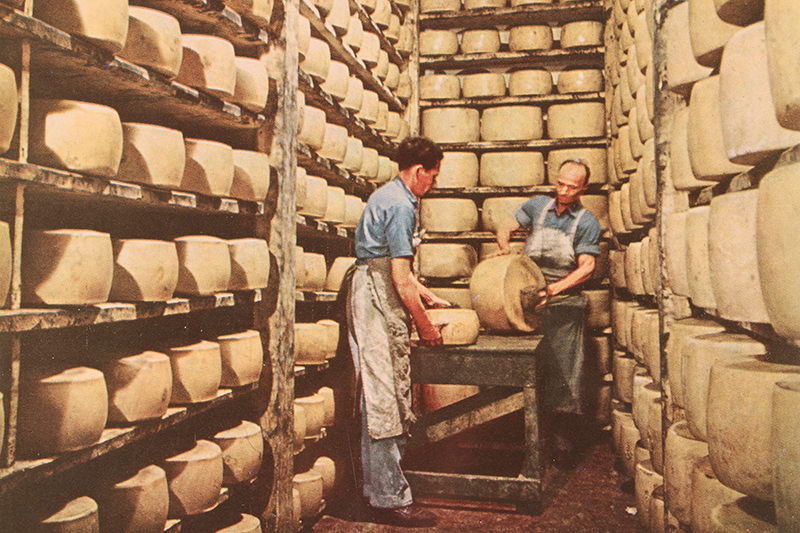 """Fat wheels of cheese are stacked by hand in an old factory at Corteleone, near Lodi. Cheese, made in traditional  ways, forms a favorite part of every Italian meal."" Appeared in the 1961 LIFE World Library's ""Italy"" book. No photographer credit given."