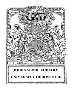 A label inside one of the books at the University of Missouri's Frank Lee Martin Journalism Library depicts the university seal and state motto — Salus populi suprema lex esto.
