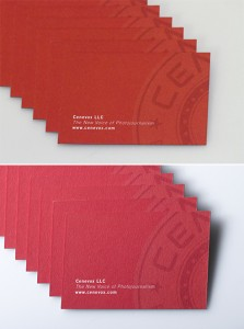 Business cards shot with ambient light (top) and with a bounced strobe (bottom).