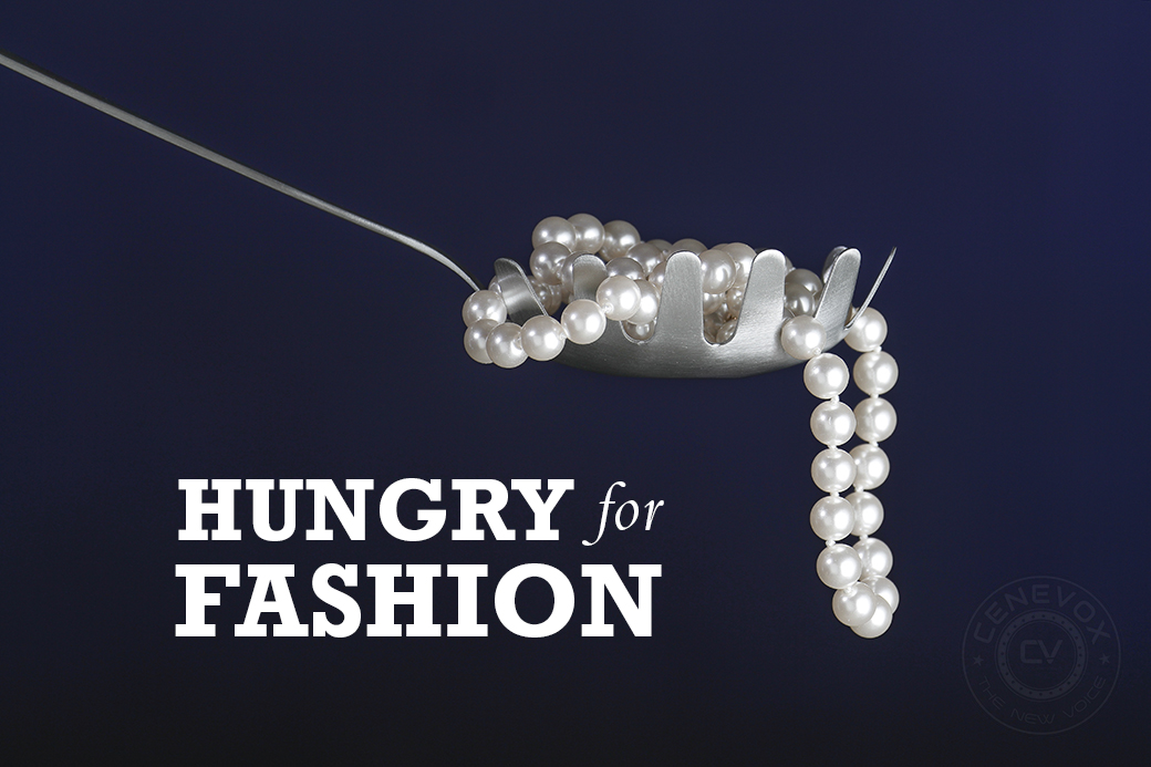 "This ""Hungry for Fashion"" concept incorporates a strand of pearls and a spaghetti spoon.  Metadata: f/8; 1/125; ISO 100; 200mm focal length"