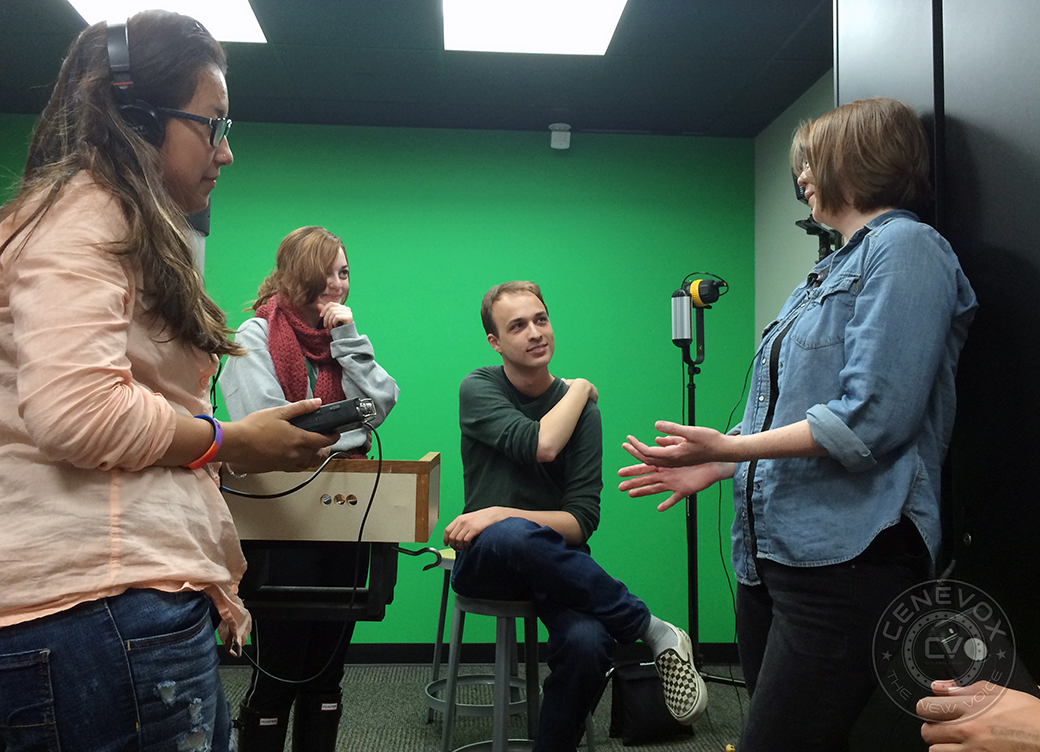 """Missouri School of Journalism graduate student Hannah Baldwin, right, talks about her spring break while Tiffany Melecio,  left, Lauren Kastner, and Josh Boucher listen. Boucher interviewed Baldwin during a lab demonstrating audio recording techniques for Rita Reed's """"Advanced Techniques in Photojournalism"""" course."""