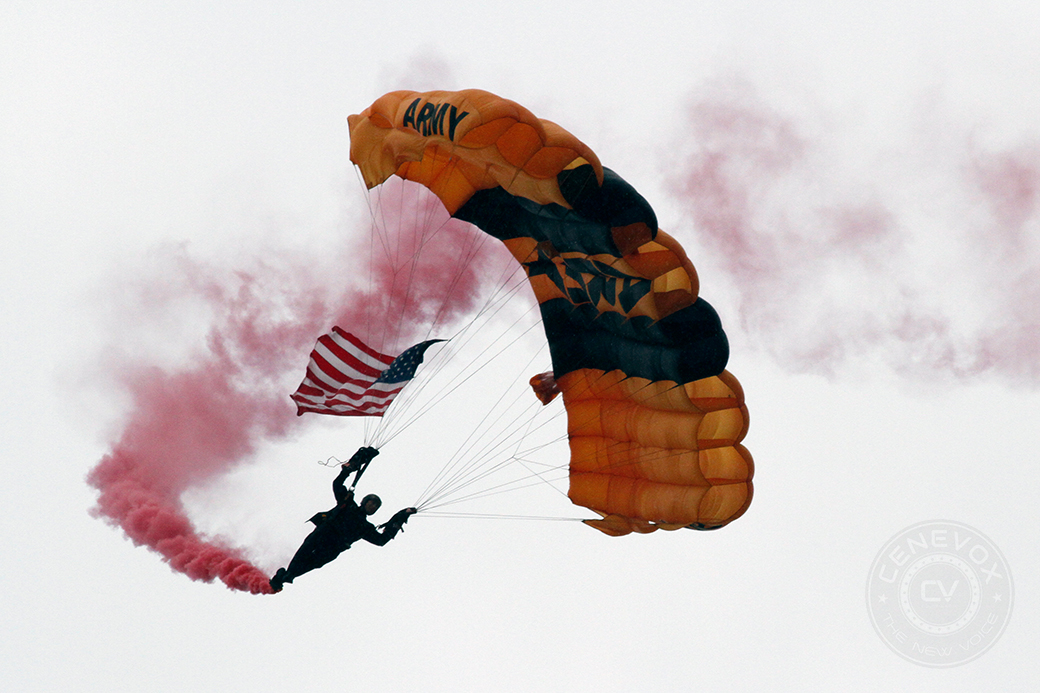 Staff Sgt. Brandan Parra descends from a 5,000-foot jump at the 2014 Salute to Veterans Airshow on Saturday at Columbia Regional Airport. Parra has made more than 870 free fall parachute jumps in his career.