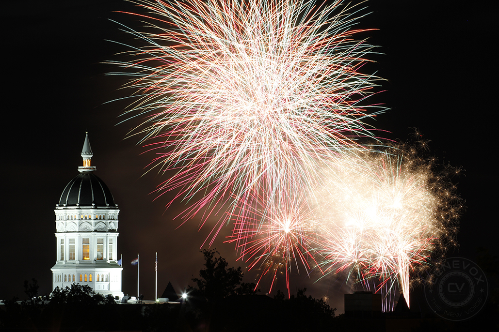 Fireworks over Jesse Hall at the University of Missouri