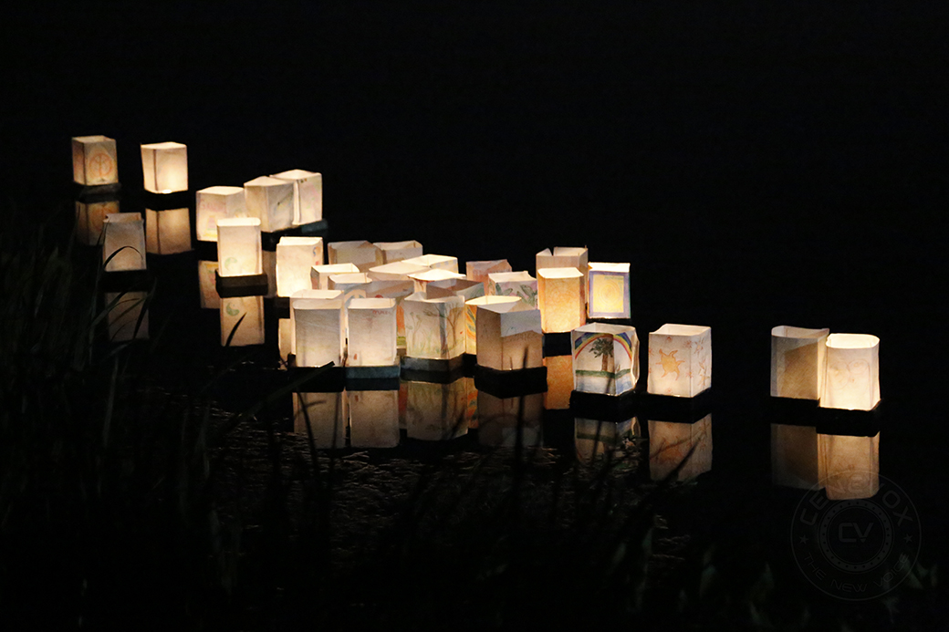 Paper lanterns decorated to commemorate the 69th anniversary of Hiroshima and Nagasaki's bombing float in waters of Stephen's Lake on Aug. 9, 2014.