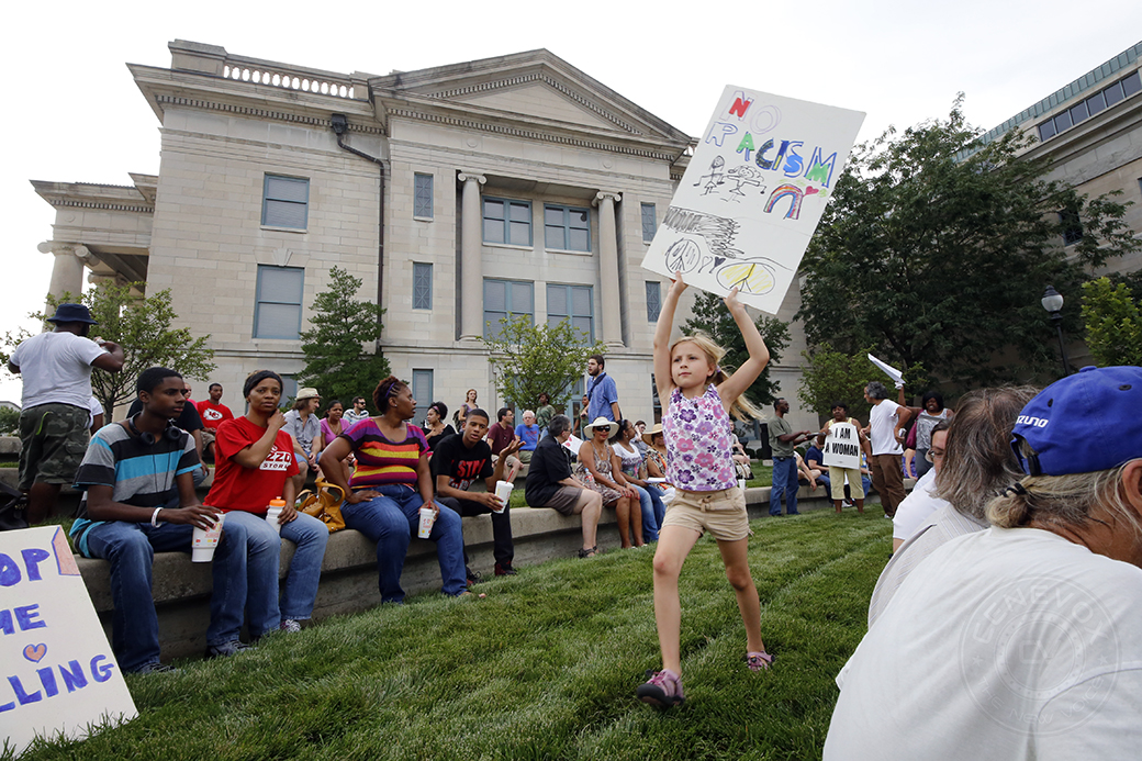 "Teeney Franck, 7, was one of hundreds who gathered outside the Boone County Courthouse on Aug. 21, 2014, during ""A Call for Justice for Michael Brown,"" a rally organized by the Missouri NAACP."