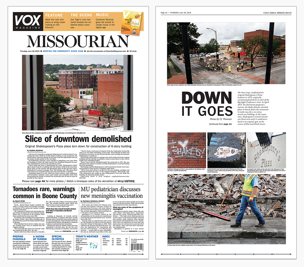 Page 1A and Page 4A of the Columbia Missourian highlight the destruction of the downtown Shakespeare's Pizza location.