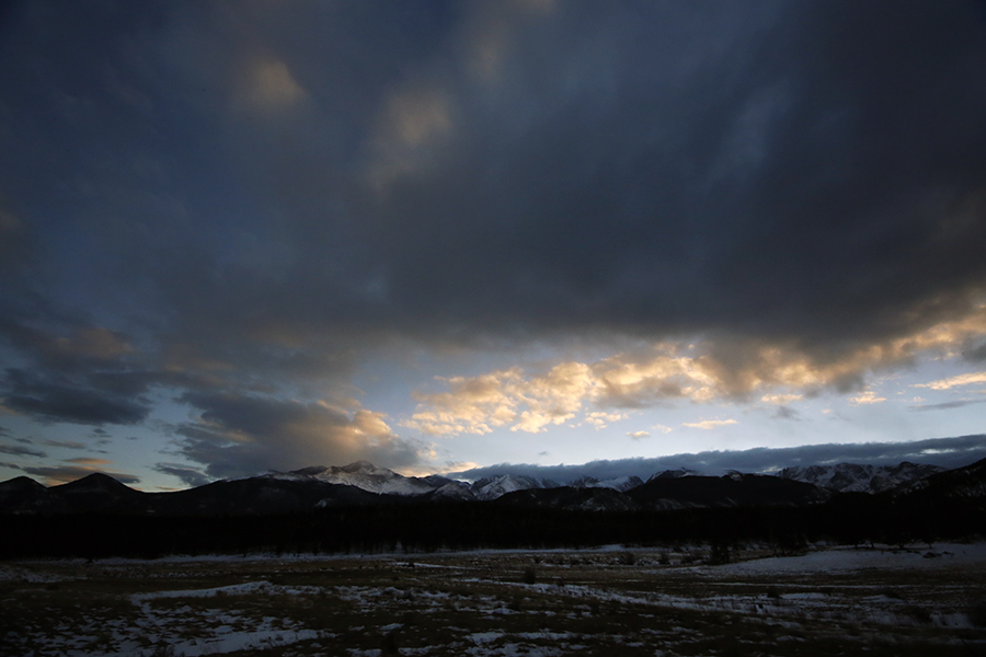 Clouds roll over the Front Range of the Rocky Mountains on Jan. 5, 2016.